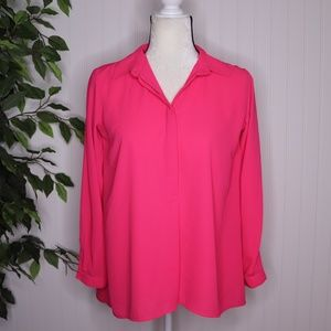 Insight Hot Pink Long Sleeve Blouse Size XS